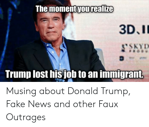 Donald Trump Fake: The moment yourealize  3D,I  Trump lost hisjob to an immigrant Musing about Donald Trump, Fake News and other Faux Outrages