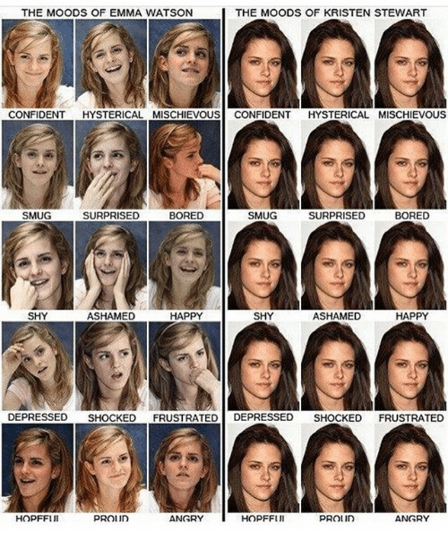 Kristen Stewart: THE MOODS OF EMMA WATSON  THE MOODS OF KRISTEN STEWART  CONFIDENT HYSTERICAL MISCHIEVOUS CONFIDENT HYSTERICAL MISCHIEVOUS  SMUG  SURPRISED  BORED  SMUG  SURPRISED  BORED  SHY  ASHAMED  HAPPY  SHY  ASHAMED  HAPPY  DEPRESSED SHOCKED FRUSTRATED DEPRESSED SHOCKED FRUSTRATED  HOPFFUI  ANGRY  HOPFFUl  ANGRY