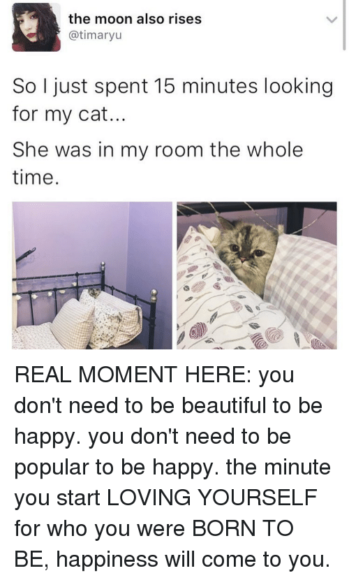 Memes, Moon, and Be Happy: the moon also rises  @timaryu  So I just spent 15 minutes looking  for my cat.  She was in my room the whole  time. REAL MOMENT HERE: you don't need to be beautiful to be happy. you don't need to be popular to be happy. the minute you start LOVING YOURSELF for who you were BORN TO BE, happiness will come to you.