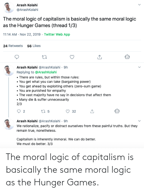 The Hunger Games: The moral logic of capitalism is basically the same moral logic as the Hunger Games.