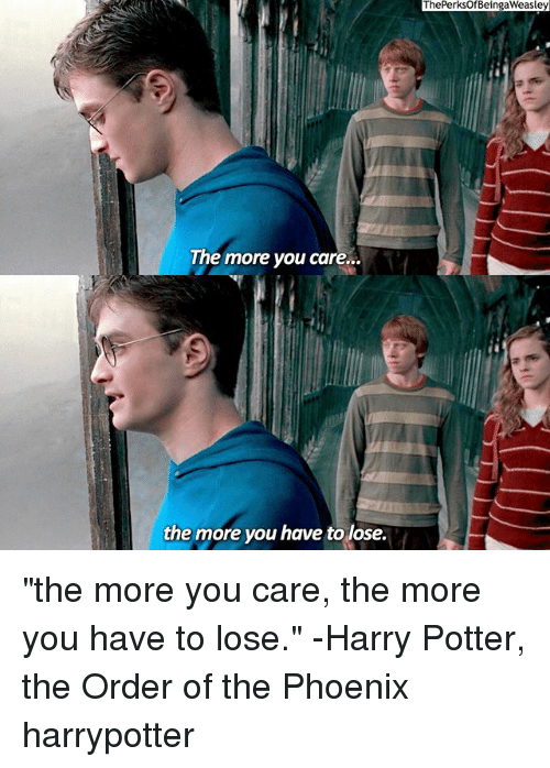"Memes, 🤖, and Potter: The more you care..  the more you have to lose.  The PerksofBeingaweasley ""the more you care, the more you have to lose."" -Harry Potter, the Order of the Phoenix harrypotter"