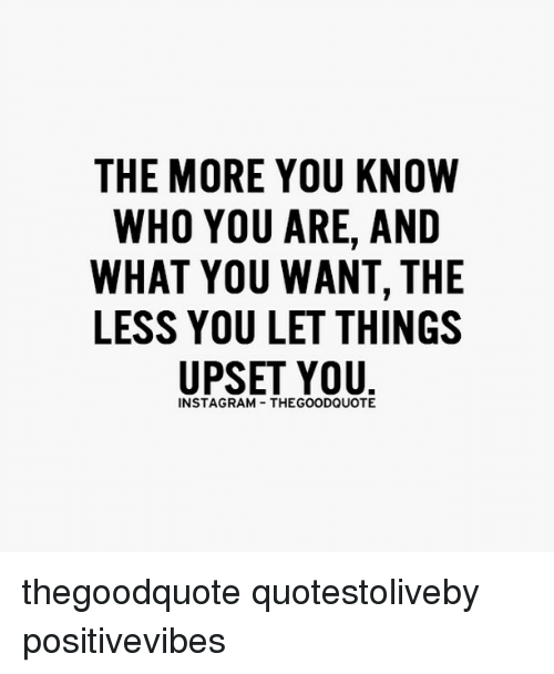 Memes, The More You Know, and 🤖: THE MORE YOU KNOW  WHO YOU ARE, AND  WHAT YOU WANT, THE  LESS YOU LET THINGS  UPSET YOU  INSTAGRAM THEGOODQUOTE thegoodquote quotestoliveby positivevibes