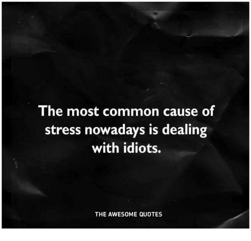 Dealing With Idiots: The most common cause of  stress nowadays is dealing  with idiots.  THE AWESOME QUOTES