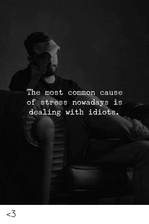 Dealing With Idiots: The most common cause  of stress nowadays is  dealing with idiots. <3