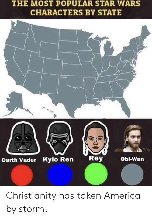 most popular: THE MOST POPULAR STAR WARS  CHARACTERS BY STATE  Rey  Obi-Wan  Darth Vader Kylo Ren Christianity has taken America by storm.
