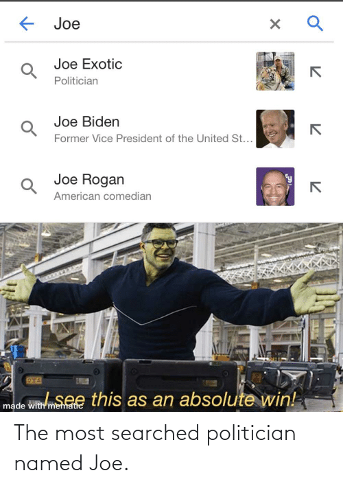 politician: The most searched politician named Joe.
