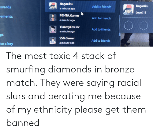 Racial: The most toxic 4 stack of smurfing diamonds in bronze match. They were saying racial slurs and berating me because of my ethnicity please get them banned