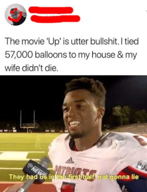 balloons: The movie 'Up' is utter bullshit. I tied  57,000 balloons to my house & my  wife didn't die.  NEWS  They had s in Nhe-first balf, notgonna lie