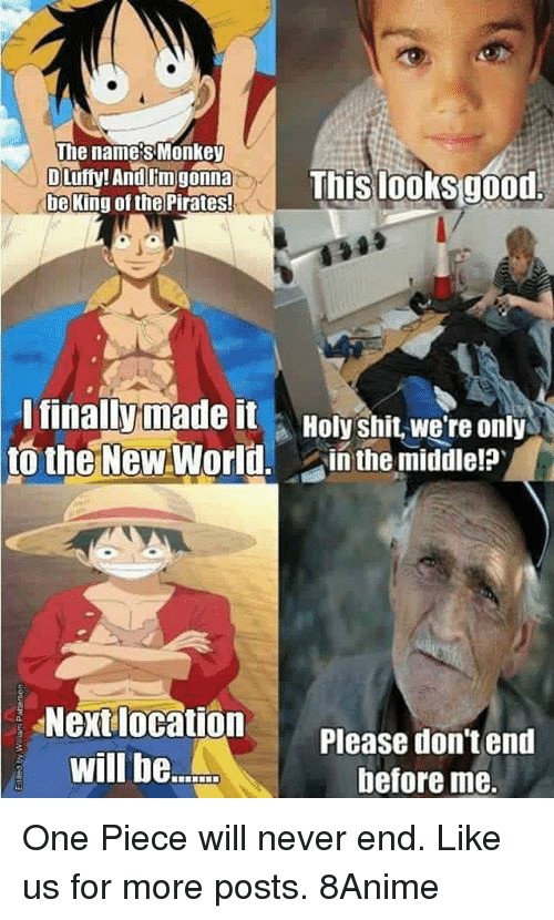 Holi Shit: The names Monkey  OLufly! And lim gonna  This looks good  be King of the Pirates!  I finally made it  Holy shit we're only  to the New World  in the middle?  Next location  Please don't end  will be.  before me. One Piece will never end.  Like us for more posts. 8Anime