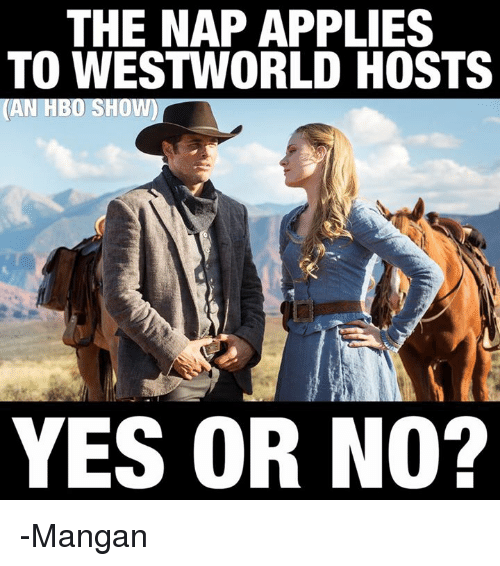 Hbo, Anarchyball, and Yes: THE NAP APPLIES  TO WESTWORLD HOSTS  (AN HBO SHOW)  YES OR NO? -Mangan