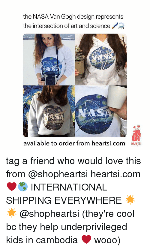 Love, Nasa, and Cool: the NASA Van Gogh design represents  the intersection of art and science  貞纭  available to order from heartsi.com  HEARTSI tag a friend who would love this from @shopheartsi heartsi.com ❤️🌎 INTERNATIONAL SHIPPING EVERYWHERE 🌟🌟 @shopheartsi (they're cool bc they help underprivileged kids in cambodia ❤️ wooo)