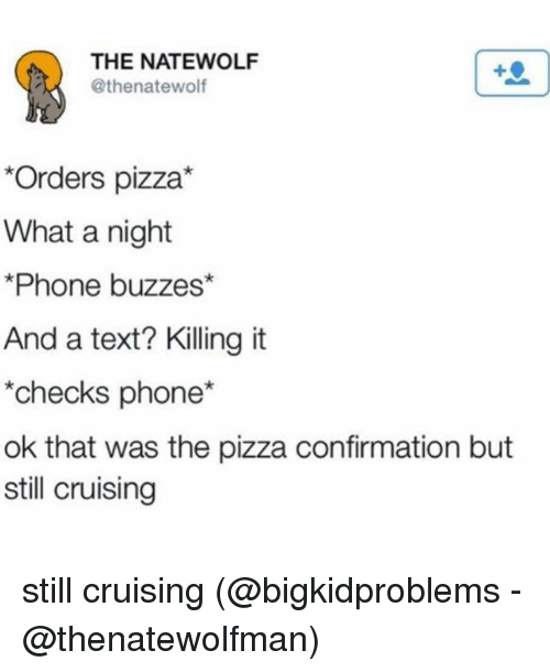 Memes, Phone, and Pizza: THE NATEWOLF  @thenatewolf  Orders pizza*  What a night  Phone buzzes*  And a text? Killing it  checks phone*  ok that was the pizza confirmation but  still cruising still cruising (@bigkidproblems - @thenatewolfman)