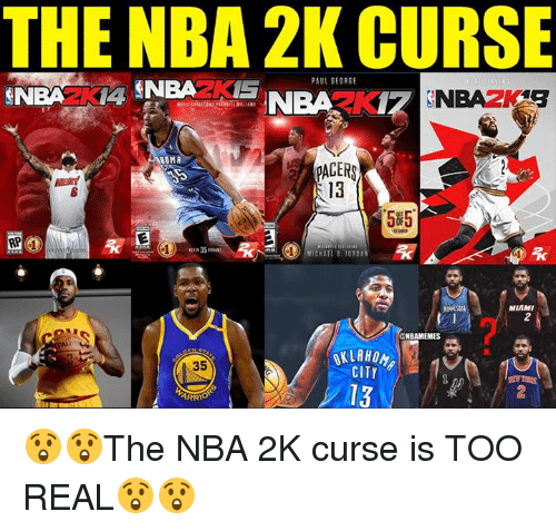 Pacer: THE NBA 2K CURSE  PAUL GEORGE  NOMA  PACER  13  5#5.  35  CHAEL B.JORDAN  MIAMI  2  NBAMEMES  OKLAHOM  CITY  35  13  2  ARR 😲😲The NBA 2K curse is TOO REAL😲😲