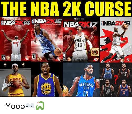 Pacer: THE NBA 2K CURSE  PAUL SEORGE  OMA  PACER  13  585  MIAMI  2  NBAMEMES  35  CITY  13  2  ARRIO Yooo👀🐍