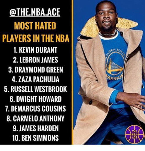 Carmelo Anthony, DeMarcus Cousins, and Draymond Green: @THE,NBA ACE  MOST HATED  PLAYERS IN THE NBA  1. KEVIN DURANT  2. LEBRON JAMES  3. DRAYMOND GREEN  4. ZAZA PACHULIA  5. RUSSELL WESTBROOK  6. DWIGHT HOWARD  7. DEMARCUS COUSINS  8. CARMELO ANTHONY  9. JAMES HARDEN  10. BEN SIMMONS  THE  NBA  ACE