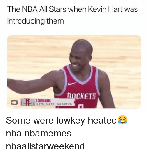 Basketball, Chris Paul, and Gif: The NBA All Stars when Kevin Hart was  introducing them  ROCKETS  CHRIS PAUL  5 PTS5-9 FG 3-63-PT FG  GIF Some were lowkey heated😂 nba nbamemes nbaallstarweekend