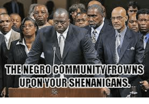 Community, Memes, and 🤖: THE NEGRO COMMUNITY FROWNS  UPON YOURSHENANIGANS
