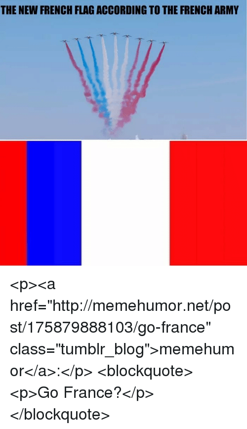 """french army: THE NEW FRENCH FLAG ACCORDING TO THE FRENCH ARMY <p><a href=""""http://memehumor.net/post/175879888103/go-france"""" class=""""tumblr_blog"""">memehumor</a>:</p>  <blockquote><p>Go France?</p></blockquote>"""