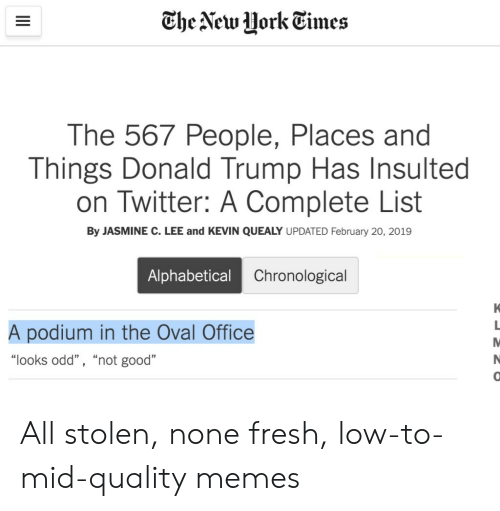 "Quality Memes: The New HorkEimes  The 567 People, Places and  Things Donald Trump Has Insulted  on Twitter: A Complete List  By JASMINE C. LEE and KEVIN QUEALY UPDATED February 20, 2019  Alphabetical  Chronological  A podium in the Oval Office  ""looks odd"" , ""not good""  0 All stolen, none fresh, low-to-mid-quality memes"