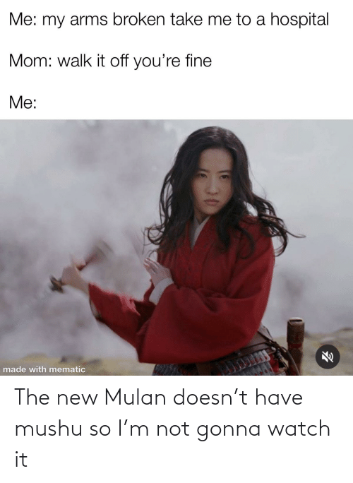 Mulan: The new Mulan doesn't have mushu so I'm not gonna watch it