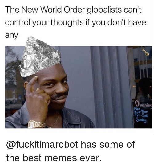 Dank Memes, New World Order, and New World: The New World Order globalists can't  control your thoughts if you don't have  any  Openim  Tri-Sal @fuckitimarobot has some of the best memes ever.
