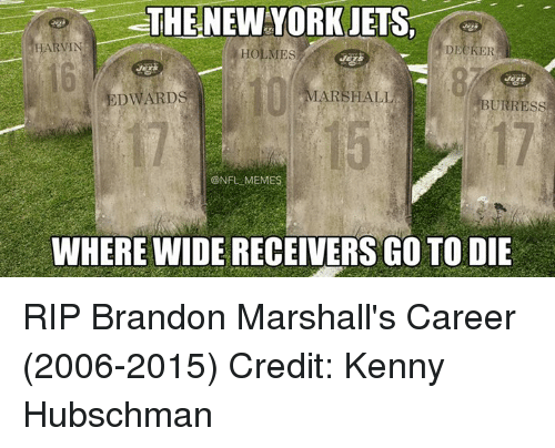 NFL: THE NEW YORK JETS,  HOLMES  DECKER  MARSHALL  EDWARDS  BURRESS  @NFL MEMES  WHERE WIDERECEIVERS GO TO DIE RIP Brandon Marshall's Career (2006-2015) Credit: Kenny Hubschman