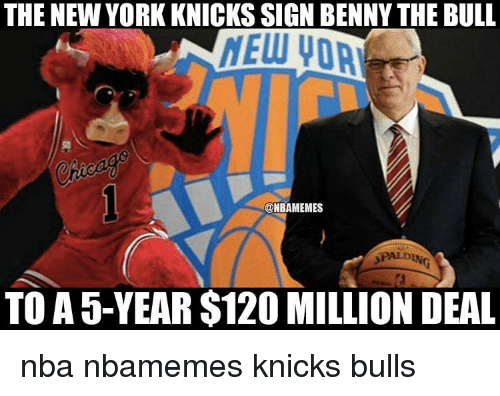 Basketball, New York Knicks, and Nba: THE NEW YORK KNICKS SIGN BENNY THE BULL  NELU VOA  ONBAMEMES  SPALDIN  TO A 5-YEAR $120 MILLION DEAL nba nbamemes knicks bulls