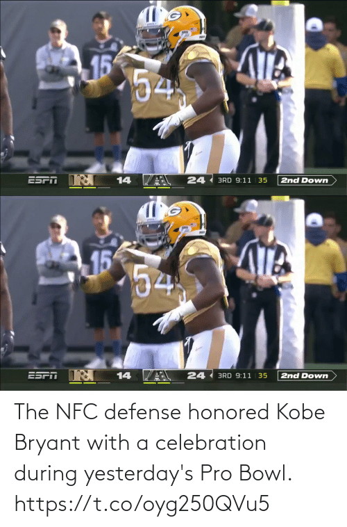 nfc: The NFC defense honored Kobe Bryant with a celebration during yesterday's Pro Bowl. https://t.co/oyg250QVu5