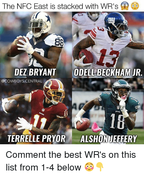 nfc east: The NFC East is stacked with WR's  88  DEZBRYANT  ODELL BECKHAM JR.  @COWBOYS CENTRAL  TERRELLE PRYOR  ALSHON JEFFERY Comment the best WR's on this list from 1-4 below 😳👇