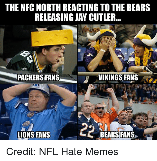 Nfl, Jay Cutler, and Nfc: THE NFC NORTH REACTING TO THE BEARS  RELEASING JAY CUTLER  PACKERS FANS  VIKINGS FANS  LIONS FANS  BEARS FANS Credit: NFL Hate Memes