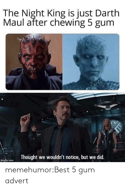 darth: The Night King is just Darth  Maul after chewing 5 gum  Thought we wouldn't notice, but we did.  imglip.com memehumor:Best 5 gum advert