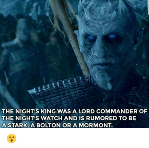 the nights watch: THE NIGHT'S KING WAS A LORD COMMANDER OF  THE NIGHT'S WATCH AND IS RUMORED TO BE  A STARK, A BOLTON OR A MORMONT 😮