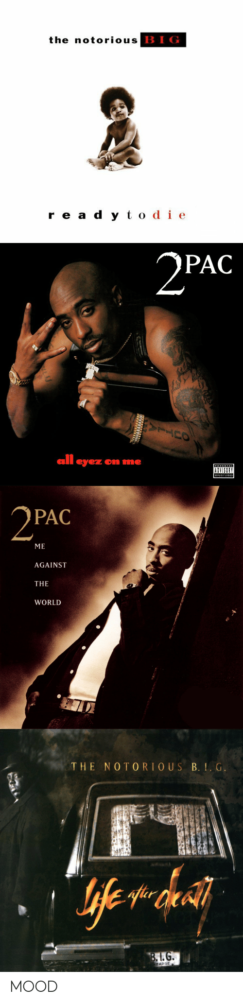 odie: the notorious  BIG  r e a d y t odie   PAC  all eyez on me  ADVISORY   PAC  ME  AGAINST  THE  WORLD   THE NO TORIOUS B. . G.  BLG MOOD