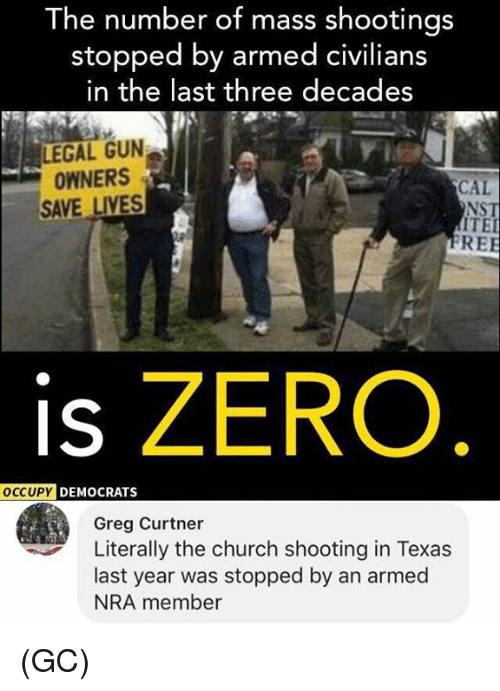 Church, Memes, and Zero: The number of mass shootings  stopped by armed civilians  in the last three decades  LEGAL GUN  OWNERS  SAVE LIVES  CAL  NST  ITE  RE  is ZERO  DEMOCRATS  Greg Curtner  Literally the church shooting in Texas  last year was stopped by an armed  NRA member (GC)