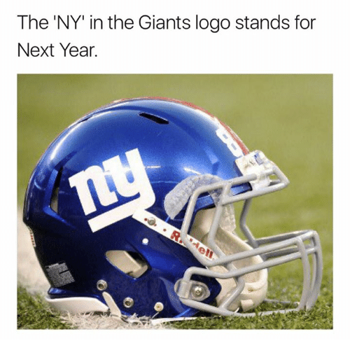 "Nfl, Giants, and Logo: The 'NY"" in the Giants logo stands for  Next Year"