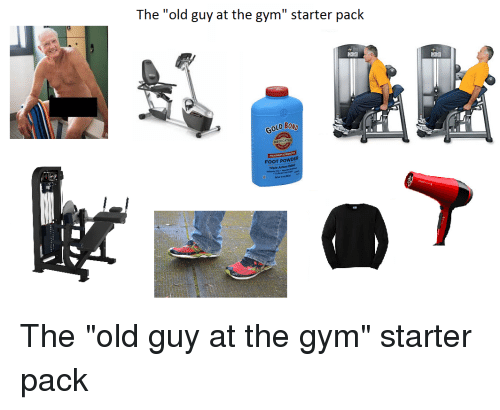 Guys in a locker room the old guy at gym starter pack