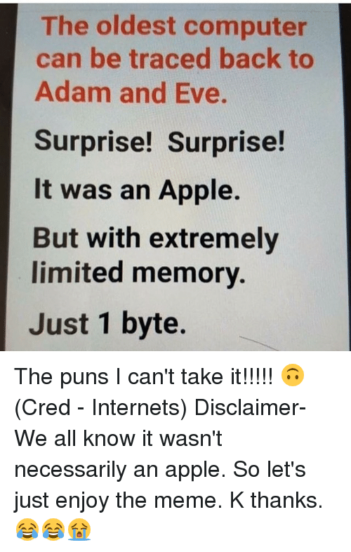 bytes: The oldest computer  can be traced back to  Adam and Eve.  Surprise! Surprise!  It was an Apple.  But with extremely  limited memory.  Just 1 byte. The puns I can't take it!!!!! 🙃 (Cred - Internets) Disclaimer- We all know it wasn't necessarily an apple. So let's just enjoy the meme. K thanks. 😂😂😭