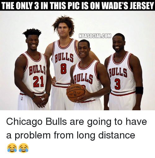 Chicago, Chicago Bulls, and Nba: THE ONLY 3IN THIS PIC IS ON WADE'S JERSEY  NBASOCIALCOM  NULLS  DING Chicago Bulls are going to have a problem from long distance 😂😂