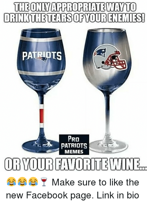 Pro Patriots: THE ONLY APPROPRIATEWAYTO  DRINKTHETEARSOFYOURENEMIES!  PATRIOTS  PRO  PATRIOTS  MEMES  OR YOUR FAVORITE WINE. 😂😂😂🍷 Make sure to like the new Facebook page. Link in bio