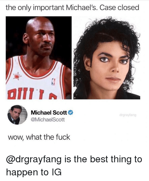 Michaels: the only important Michael's. Case closed  Michael Scott  @MichaelScott  wow, what the fuck @drgrayfang is the best thing to happen to IG