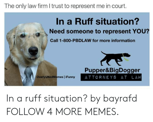 attorneys: The only law firm I trust to represent me in court.  In a Ruff situation?  Need someone to represent YOU?  Call 1-800-PBDLAW for more information  Pupper&BigDogger  ATTORNEYS AT LAW  OverlyUSedMemes iFunny In a ruff situation? by bayrafd FOLLOW 4 MORE MEMES.