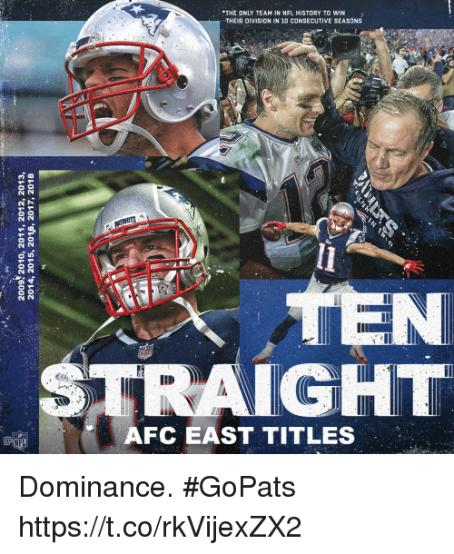 Afc East: *THE ONLY TEAM IN NFL HISTORY TO WIN  6  2  THEIR DIVISION IN 10 CONSECUTIVE SEASONS  :2  IGHT  AFC EAST TITLES  NFL Dominance. #GoPats https://t.co/rkVijexZX2