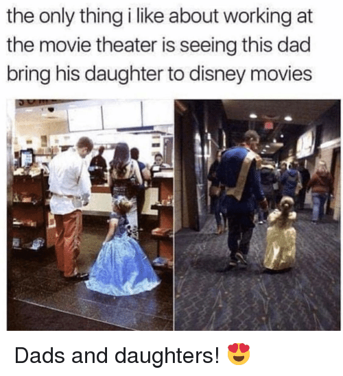 Disney Movies: the only thing i like about working at  the movie theater is seeing this dad  bring his daughter to disney movies Dads and daughters! 😍