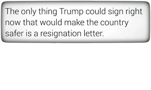 Trump, Signs, and Make: The only thing Trump could sign right  now that would make the country  safer is a resignation letter