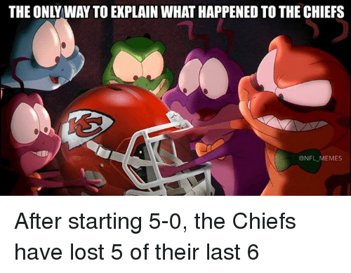 Memes, Nfl, and Lost: THE ONLY WAY TO EXPLAIN WHAT HAPPENED TO THE CHIEFS  1  @NFL MEMES After starting 5-0, the Chiefs have lost 5 of their last 6
