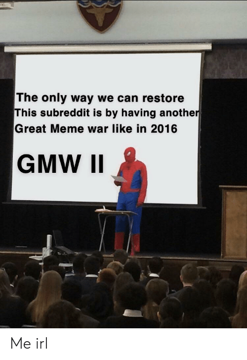 Great Meme War: The only way we can restore  This subreddit is by having another  Great Meme war like in 2016 Me irl