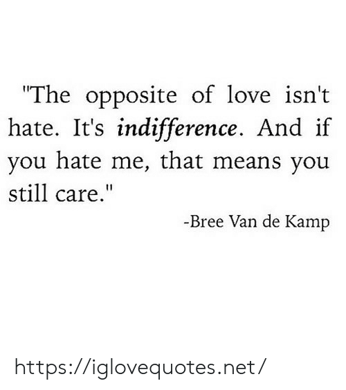 "You Hate Me: ""The opposite of love isn't  hate. It's indifference. And if  you hate me, that means you  still care.""  -Bree Van de Kamp https://iglovequotes.net/"