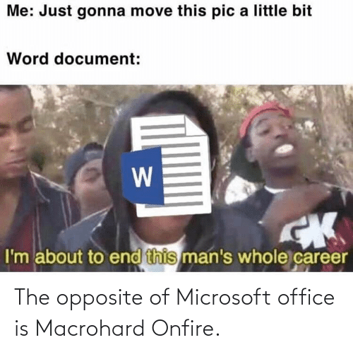 Microsoft Office: The opposite of Microsoft office is Macrohard Onfire.