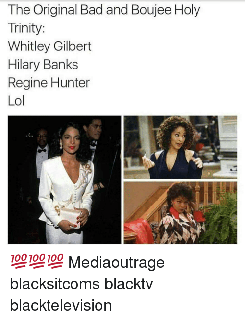 whitley gilbert: The Original Bad and Boujee Holy  Trinity  Whitley Gilbert  Hilary Banks  Regine Hunter  Lol 💯💯💯 Mediaoutrage blacksitcoms blacktv blacktelevision