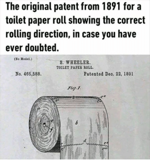 The Original Patent From 1891 For A Toilet Paper Roll
